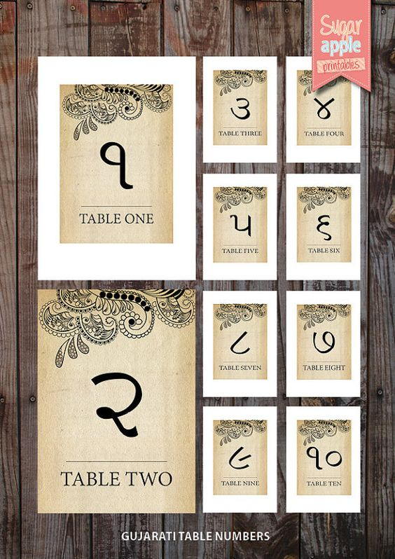 Printable Table numbering indian weddings vintage theme 'gujarati indian wedding table numbering' on Etsy, $10.00