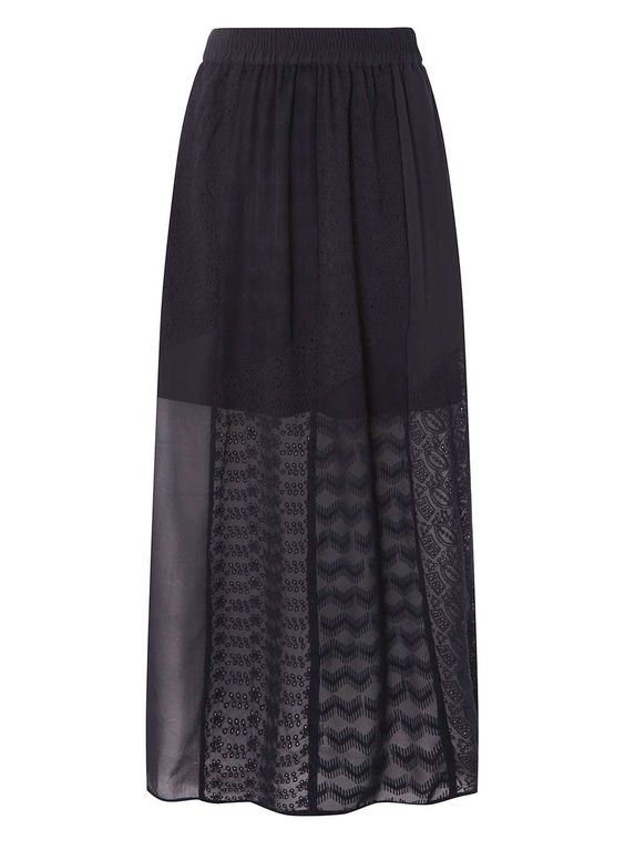 Navy Broderie Maxi Skirt   Size: 2   Cost: $29.00   us.dorothyperkins.com