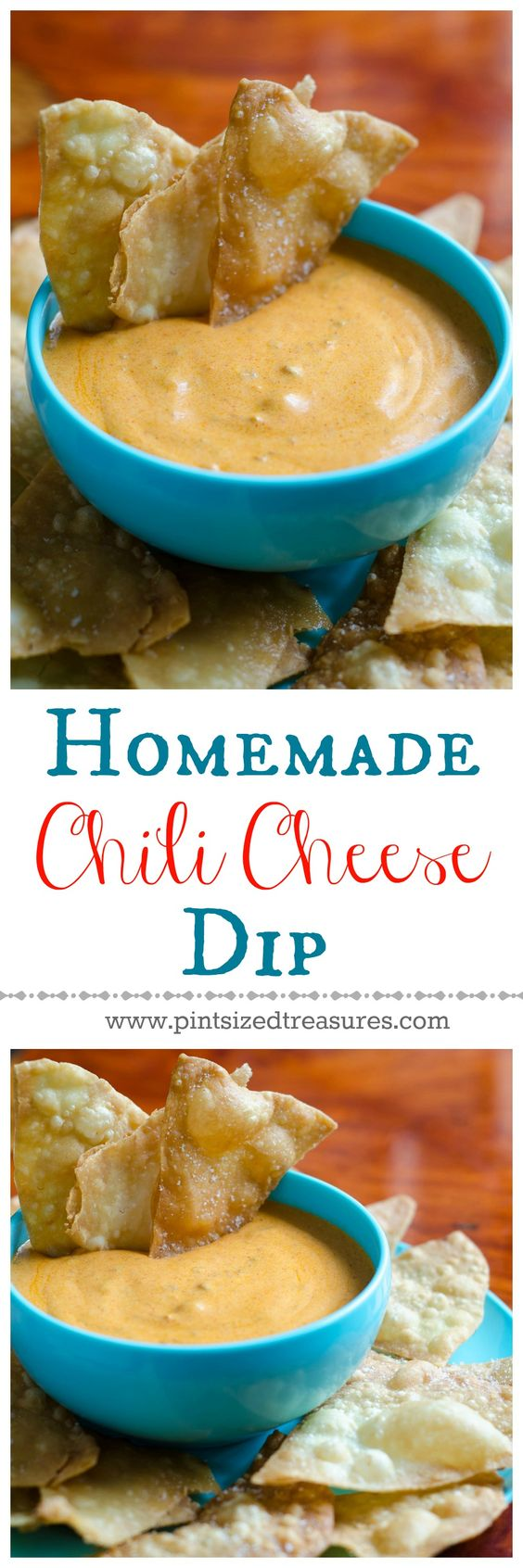 A super-easy chili cheese dip that doesn't use block, processed cheese! You can whip up this recipe on your stove in minutes! Easy homemade tortilla chips recipe is also included. Get ready for the best munching session in town! YUM!