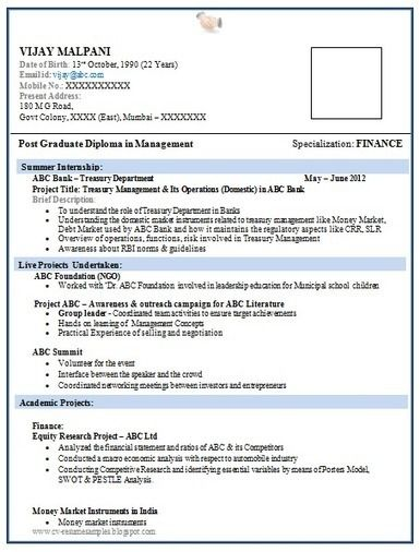 Pdf Fresher Pdf Simple Resume Format Download In Ms Word
