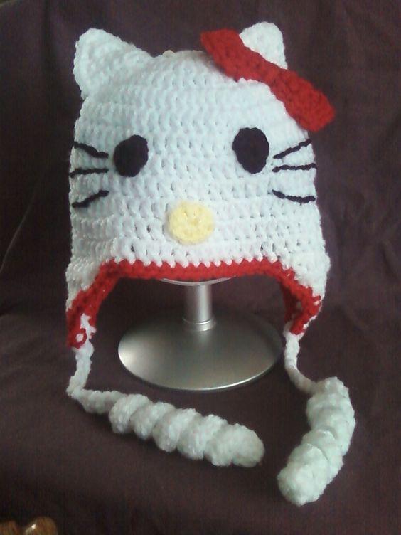 Hello Kitty inspired beanie, kitty beanie, kids hats, childrrens, hats, girls beanies, red Hello Kitty by HandCraftedByGailZ, $18.50 USD