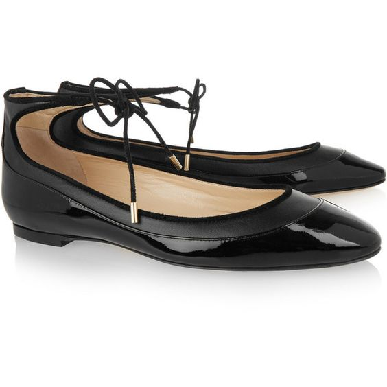 Jimmy Choo - Tyler Matte And Patent-leather Ballet Flats ($260) ❤ liked on Polyvore featuring shoes, flats, black patent leather shoes, black flat shoes, black skimmer, sparkly ballet flats and patent leather ballet flats