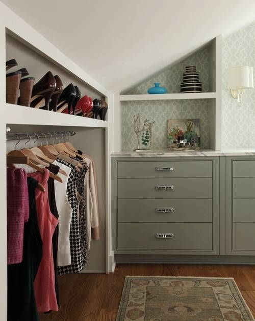 Slanted Closet Hanging And Shelves With Crown Molding Sloped Ceiling Closet Angled Clothes Rod Brack In 2020 Closet Bedroom Closet Storage Design Master Bedroom Closet