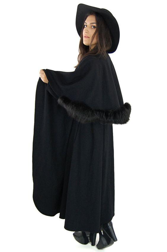 Vintage Black WITCHY C'est Simone Neiman Marcus Wool Fur Trim GOTHIC Long Cloak Cape Coat Jacket / One Size