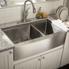"""Farmhouse 36"""" x 21.25"""" Undermount Double Bowl Kitchen Sink placed 33"""" AFF with false retractable cabinet door and with a panel door that protects user knees."""