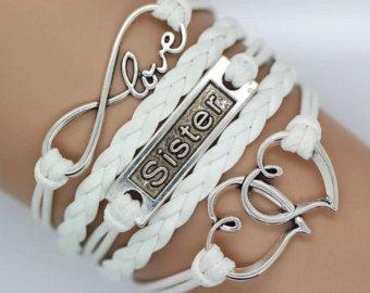 Bracelet, bracelet coeur, soeur bracelet, bracelet amour infini, blancs cordons/tresses Christams cadeau.