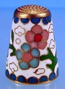 Vintage Floral CLOISONNE ENAMEL Thimble - Pink & Blue Flowers on White & Cobalt Blue