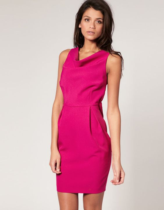 ASOS Hot Pink Fuchsia Cowl Neck Pleat Skirt Sheath Pencil Day Dress S 6 UK 10 #ASOS #WigglePencil #WeartoWork