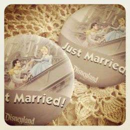 """""""Just Married"""" buttons from Disneyland. Definitely getting these for our honeymoon"""