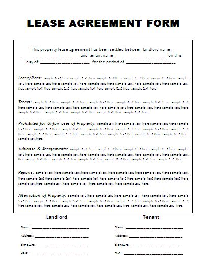 Rental Agreement Form Free printable – Printable Lease Form