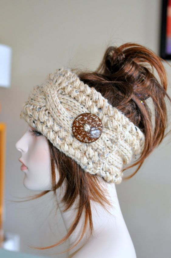 Earwarmer Cabled Ear Warmer Winter Crochet Headband Chunky ...