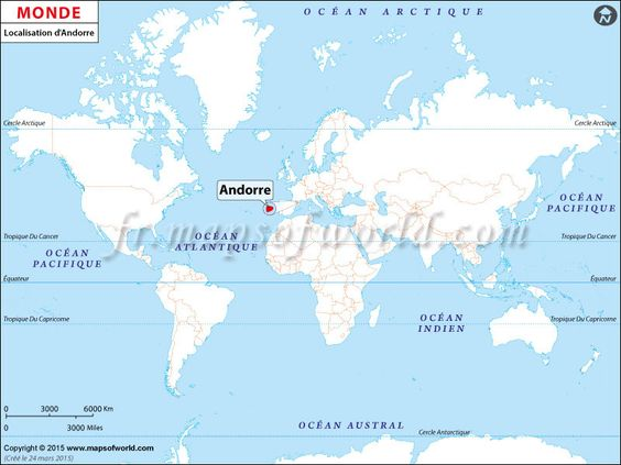 Où est Andorre - Location map of #Andorra on World Map.