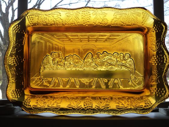 """DaVinci's """"the Last Supper"""". Vintage Amber Glass Ware  Indiana Glassware by RRGS"""