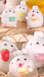 Cutie Molang cake and macaron figures