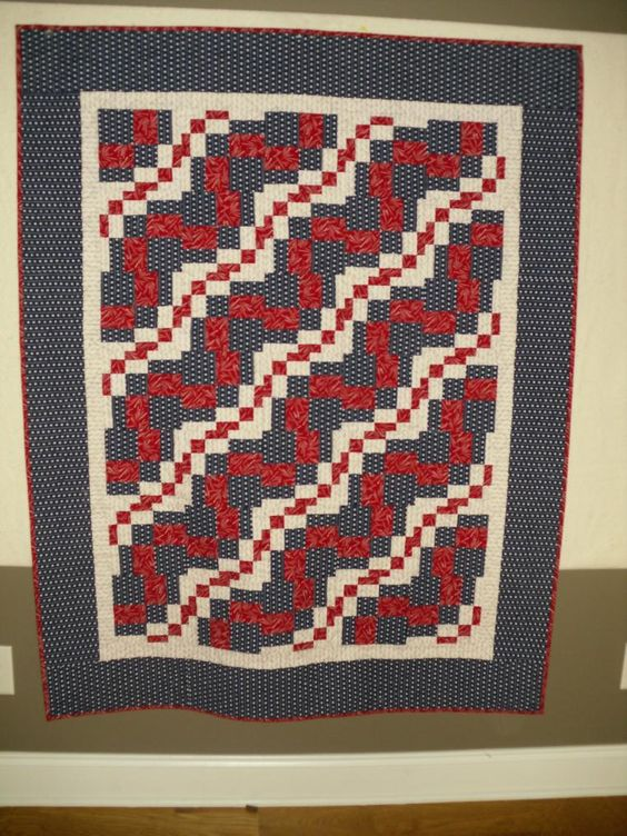 twist on bargello. red white and blue quilt, gave to local hospice to give to a veteran.: