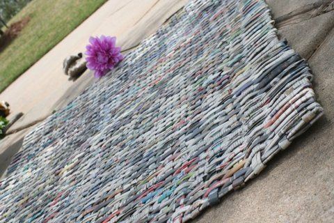 recycled newspaper rug...etsy