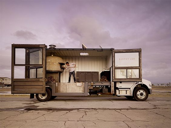 A mobile pizza kitchen. Well done sir. Look at the articulating wood and glass facade. Impressive. Huckberry | Pizza Pie on Wheels