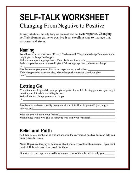 The Worry Bag: Self-Talk Worksheet - the healing path with ...