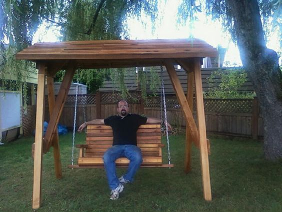 covered yard swing | wooden swing sets canada | wood swing ...