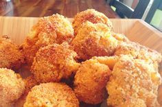 Baked Mac & Cheese Balls. I saw these at a Superbowl party and am dying to try my own GF version. Sub GF mac n' chese, GF Bisquick for flour, and crushed cornflakes or rice cereal for breadcrumbs.