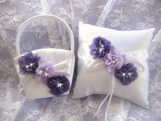 Flower Girl Basket Ring Bearer Pillow Set Purple and Lavender