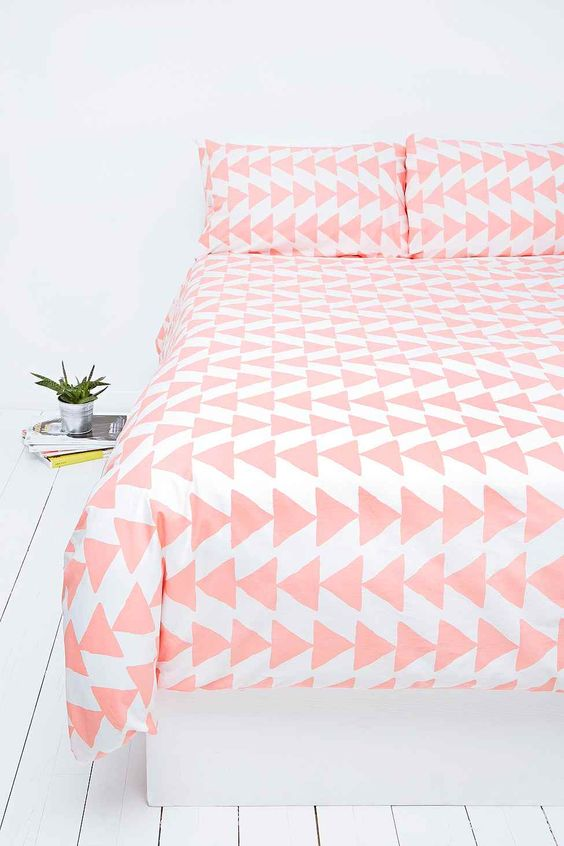 Pale Pink Triangle Patterned Bedspread & Pillowcases, White Painted Hardwood Floors // girly
