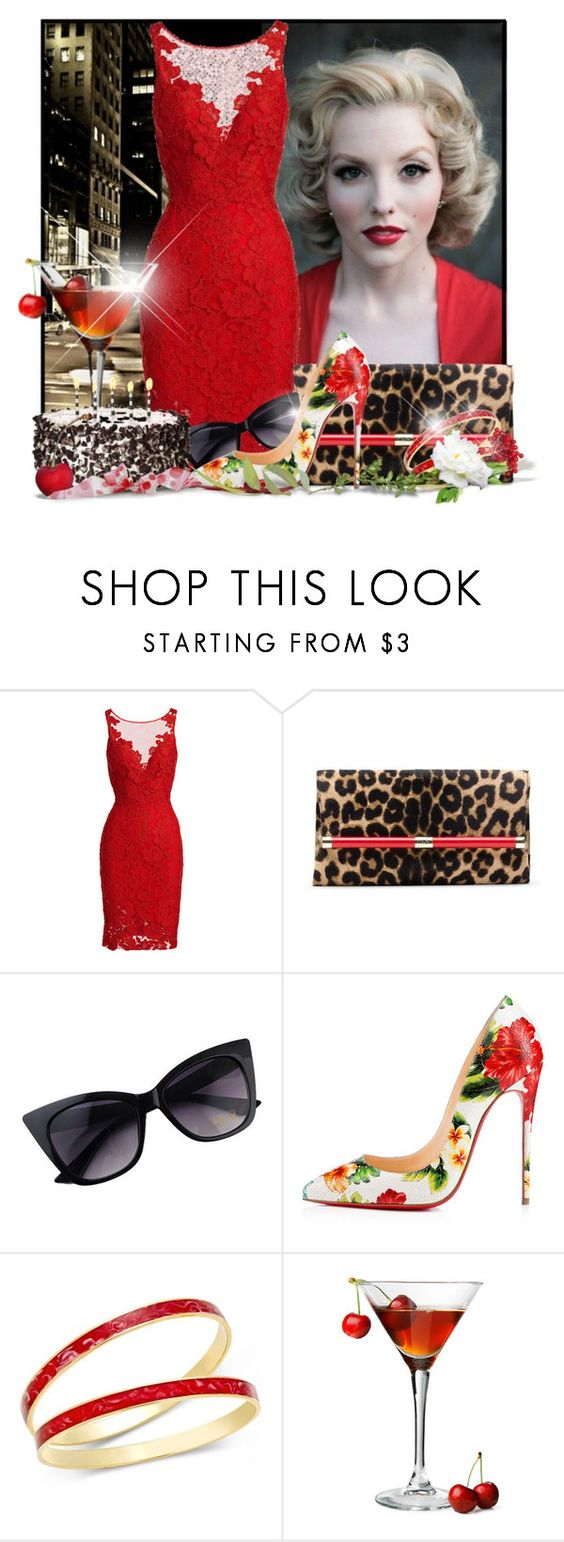 """""""Happy Birthday Brenda Joyce"""" by doozer ❤ liked on Polyvore featuring Avenue, ML Monique Lhuillier, Diane Von Furstenberg, Christian Louboutin and Charter Club"""