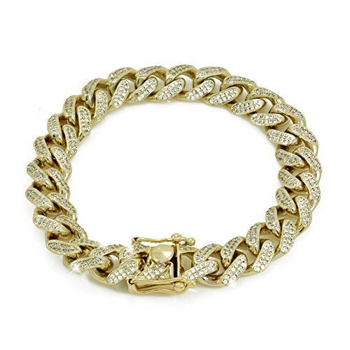 12mm 8 5 Cuban Link Chain 6ct Tw Vvs Lab Diamonds 14 Link Bracelets Gold Bracelet Mens Jewelry