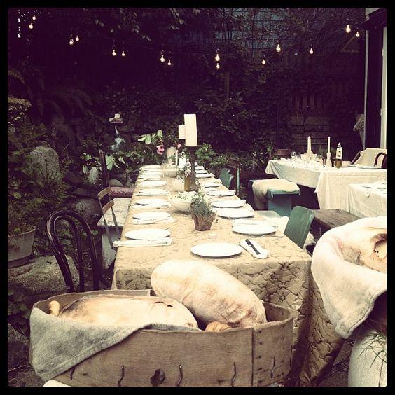italian dinner in the yard of the shop (bon marche)