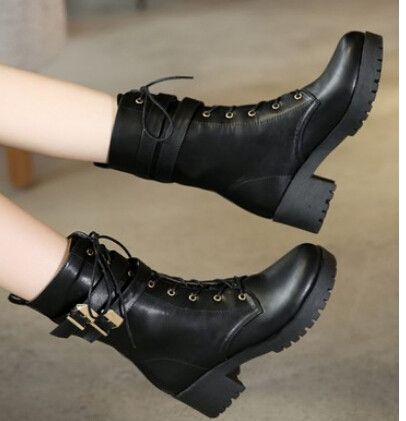 Women new fashion british style spring autumn 5cm high thick heels lacing boots round toe buckle shoes large plus size 40-43