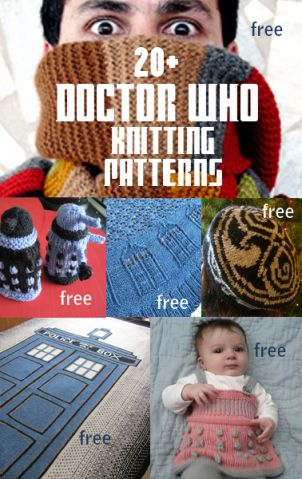 Doctor Who Inspired Knitting Patterns, many free -- For Whovian fun and cosplay, TARDIS, Daleks, Tom Baker scarf and more at http://intheloopknitting.com/doctor-who-knitting-patterns/