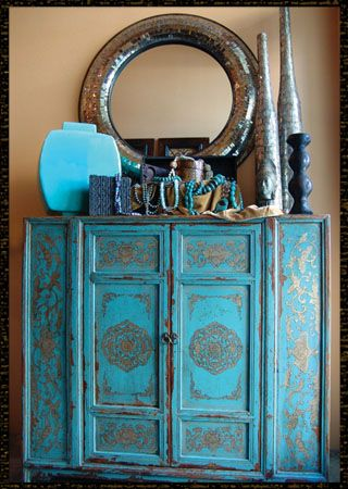 turquoise chinoiserie cabinet + old world + patina.  We have this - love it......