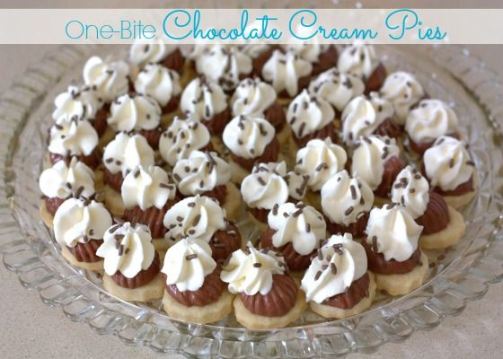 One-Bite Chocolate Cream Pies :: Great to bring these to large potluck gatherings so everyone gets a taste and can still sample other desserts.