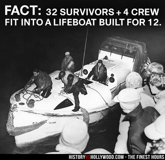 Bernie Webber and the CG-36500 Motor Lifeboat Returns with SS Pendleton Survivors. Read 'The Finest Hours: History vs. Hollywood' at: http://www.historyvshollywood.com/reelfaces/finest-hours/