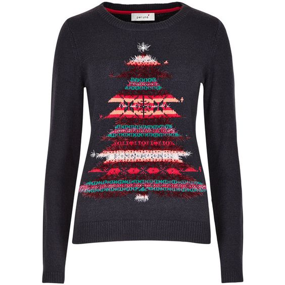 Per Una Embroidered Christmas Tree Jumper ($36) ❤ liked on Polyvore featuring tops, sweaters, blue, christmas tops, long sleeve sweaters, embroidered top, blue sweater and holiday christmas sweaters