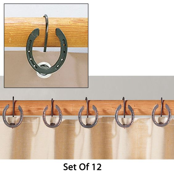 Rustic Horseshoe Shower Curtain Hooks - For the barn apartment ...