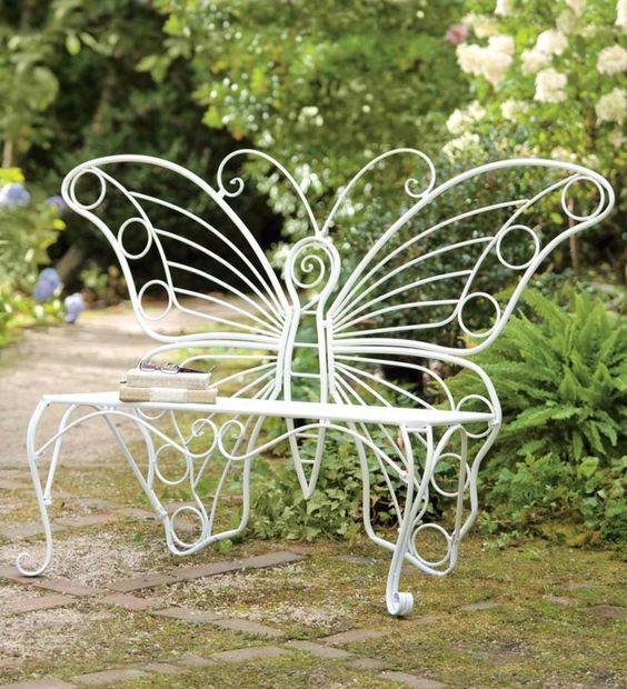 Garden Bench metal Butterfly design