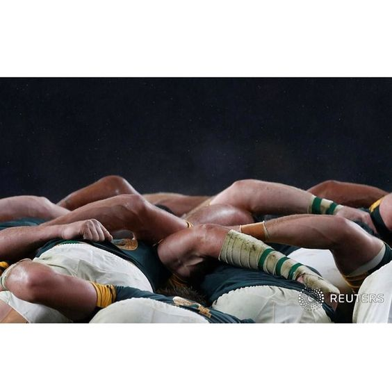 South Africa players compete in a scrum with New Zealand players during their Rugby World Cup Semi-Final match at Twickenham in London Britain October 24 2015.  REUTERS/Russell Cheyne  #London #Twickenham #newzealand #southafrica #rugbyworldcup2015 #rugby #scrum #picoftheday by reuters