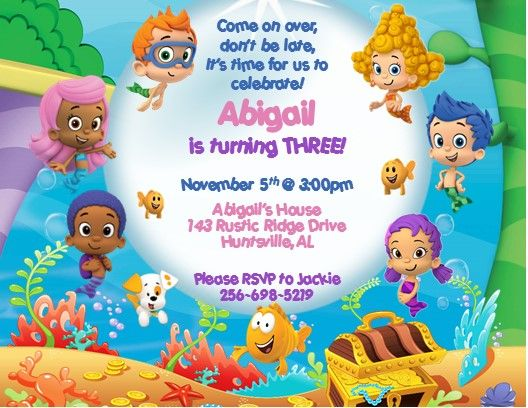12 Printed Bubble Guppies Personalized Invitations In 2021 Bubble Guppies Birthday Bubble Guppies Invitations Bubble Guppies Birthday Party