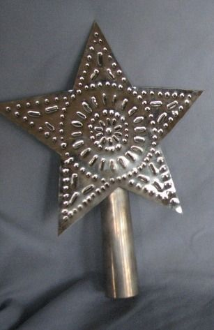 rustic handmade punched tin christmas tree star topper i want one of these for my tree but in. Black Bedroom Furniture Sets. Home Design Ideas