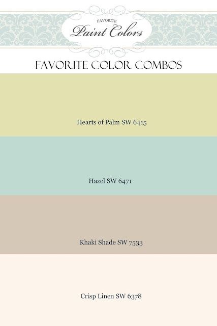 favorite color combos - Khaki shade for main room, Crisp Linen for Trim, Hazel for adjoining room, Hearts of Palm for accent color