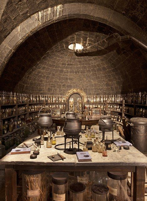 In the classroom: The potions room at Hogwarts school with textbooks laid out on the table