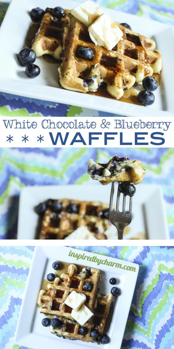 White Choclate  Blueberry Waffles (recipe also includes a variation for Pancakes!) - via Inspired by Charm