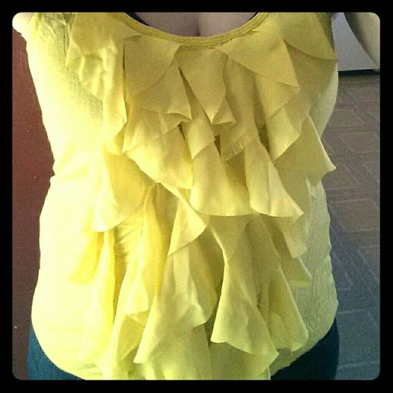 Yellow ruffle tank top Jersey knit tank top with front waterfall ruffle detail. GUC. New York & Company Tops Tank Tops