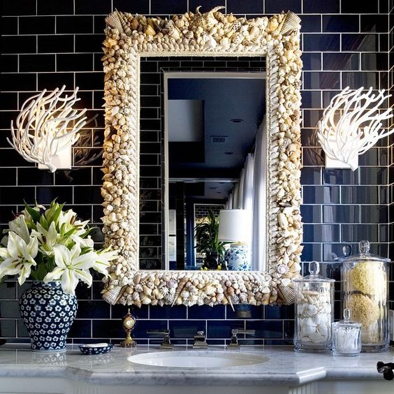 @krisjenner's #guestbath #powderroom #navyblue #tile #mothdesign #sconces #coastal #mirror #interiordesign #clientlove #kuwtk #krisjenner #homedecor