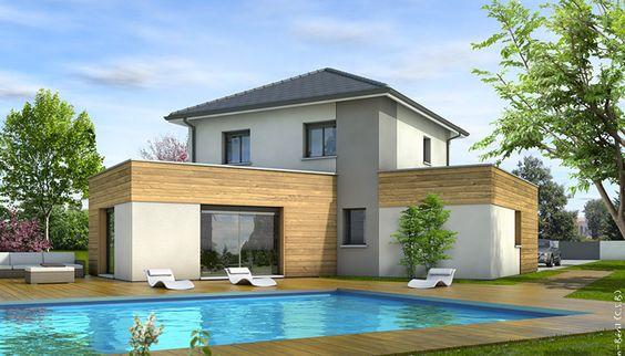 Laissez-vous séduire par cette maison moderne à étage, à l'architecture originale, mêlant toit plat et toiture traditionnelle.