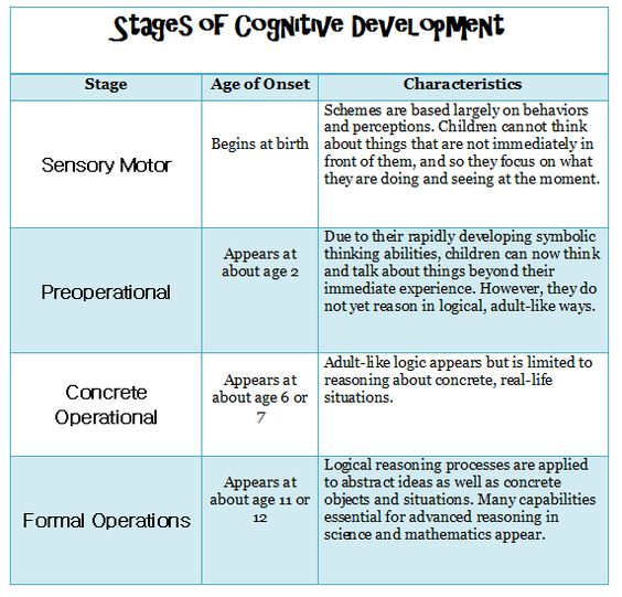 piaget theory of cognitive development chart: Piaget theory of cognitive development chart cognitive