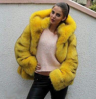 Dyed yellow fox fur parka