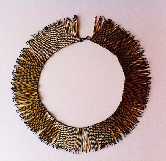 Gold and oxidised silver zigzag fringe necklace made by Joanna Campbell: