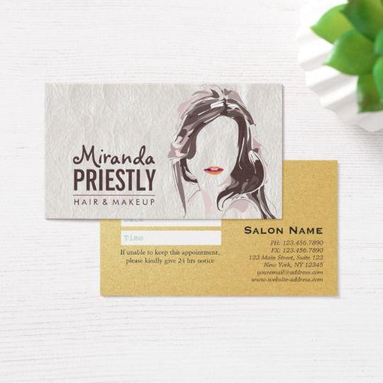 Chic Makeup Artist Hair Stylist Salon Appointment Business Card Hairstylist Business Cards Stylist Business Cards Makeup Artist Business Cards